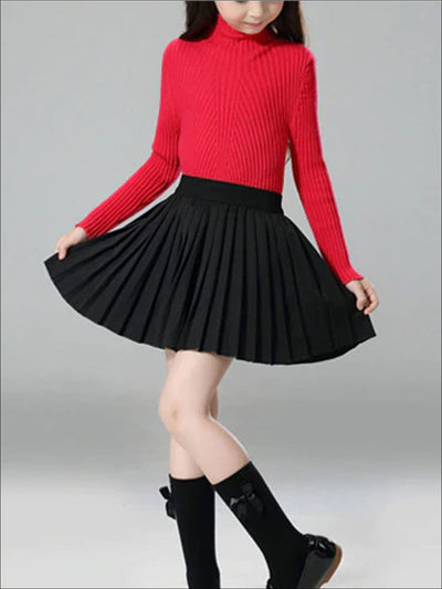 Girls Black High Waist Pleated Skirt - Black / 3T - Girls Spring Skirt