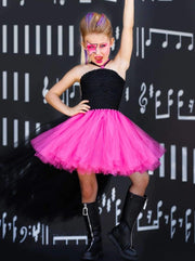 Girls Black & Hot Pink Rock Star Hi-Lo Tutu Halloween Costume Dress - Girls Halloween Costume