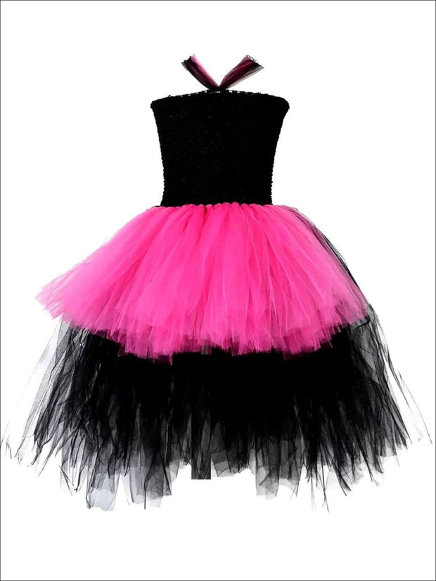 Girls Black & Hot Pink Rock Star Hi-Lo Tutu Halloween Costume Dress - Pink / 2T - Girls Halloween Costume