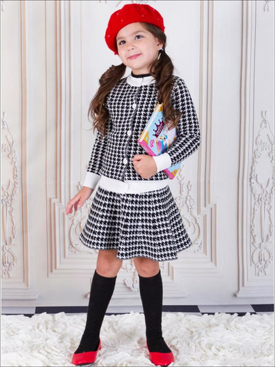 Girls Black Houndstooth Skirt & Cardigan Set - Girls Fall Dressy Set
