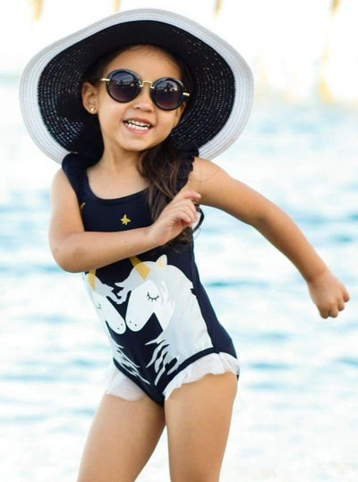 Girls Black Kissing Unicorns Ruffled One Piece Swimsuit - Black / 2T/3T - Girls One Piece Swimsuit