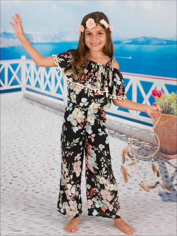 Girls Black Multi Color Floral Ruffled Off The Shoulder Peasant Jumpsuit with Pom Pom Trim - Girls Jumpsuit