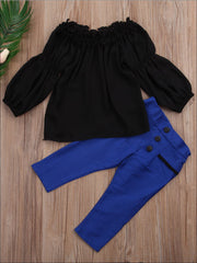 Girls Black Off The Shoulder Ruffled Top & Blue Pants Set - Girls Fall Casual Set