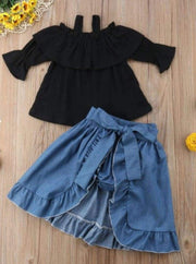 Girls Black Off The Shoulder Top With Denim Shorts and Ruffled Skirt Overlay 3 Piece Set - Girls Casual Spring Set