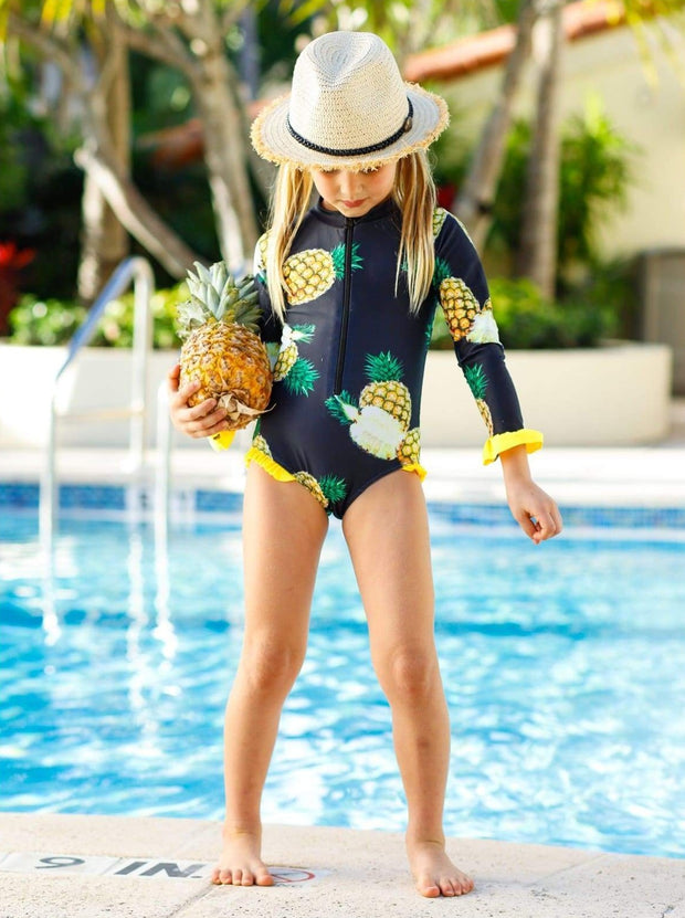 Girls Black Pineapple Print Zippered Ruffled Rash Guard One Piece Swimsuit - Girls One Piece Swimsuit