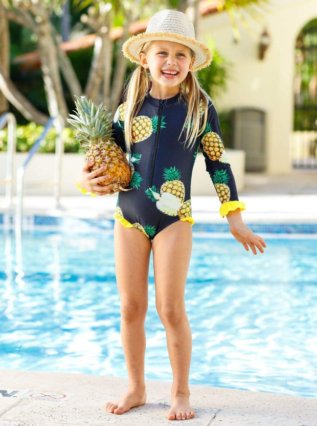 Girls Black Pineapple Print Zippered Ruffled Rash Guard One Piece Swimsuit - Black / 4T/5Y - Girls One Piece Swimsuit
