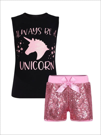 Girls Black & Pink Always Be a Unicorn Printed Tank & Matching Sequin Bow Shorts - Girls Spring Casual Set