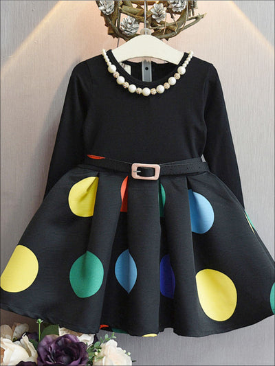 Girls Black Polka Dot Belted Dress - Girls Fall Casual Dress