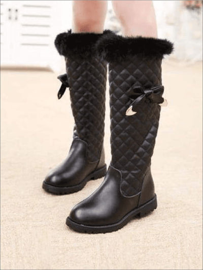 Girls Black Quilted Bow Boots - Girls Boots