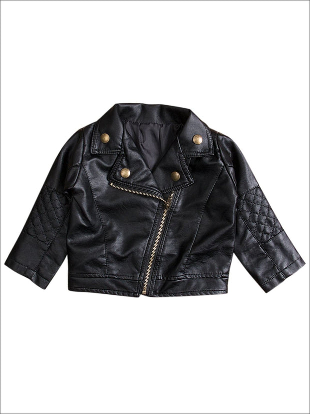 Girls Black Quilted Elbow Moto Jacket - Black / 2T - Girls Jacket