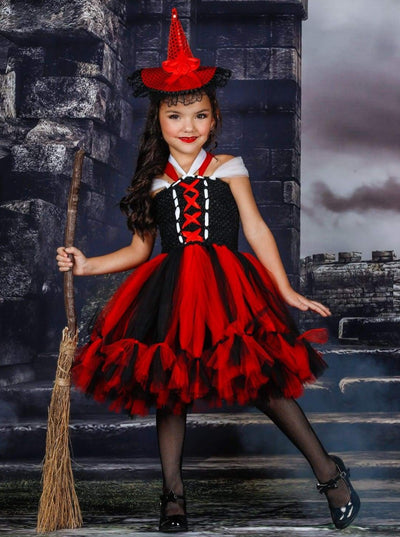 Girls Black & Red Deluxe Witch Halloween Tutu Dress - Red / 2T - Girls Halloween Costume