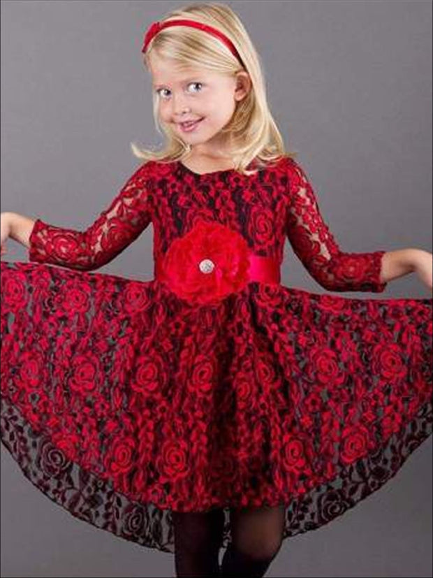 Girls Black & Red Lace Long Sleeve Lace Audrey Twirl Dress - Fall Low Stock