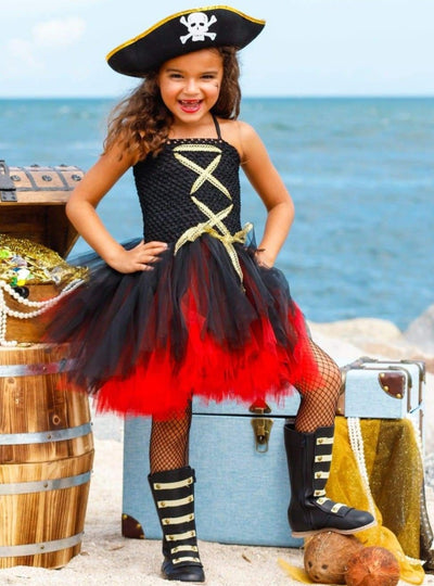 Girls Black & Red Pirate Halloween Tutu Dress with Hat - Black / 2T - Girls Halloween Costume