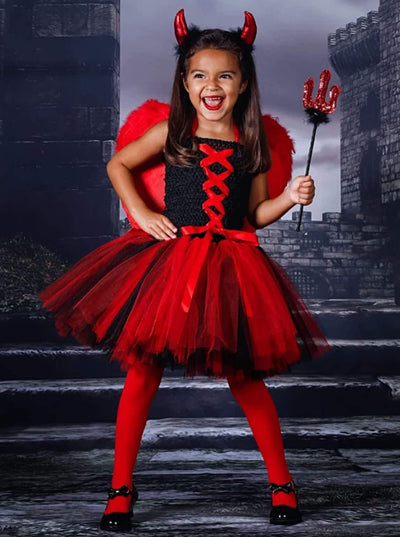 Girls Black & Red Tulle Devil Halloween Costume Dress - Girls Halloween Costume