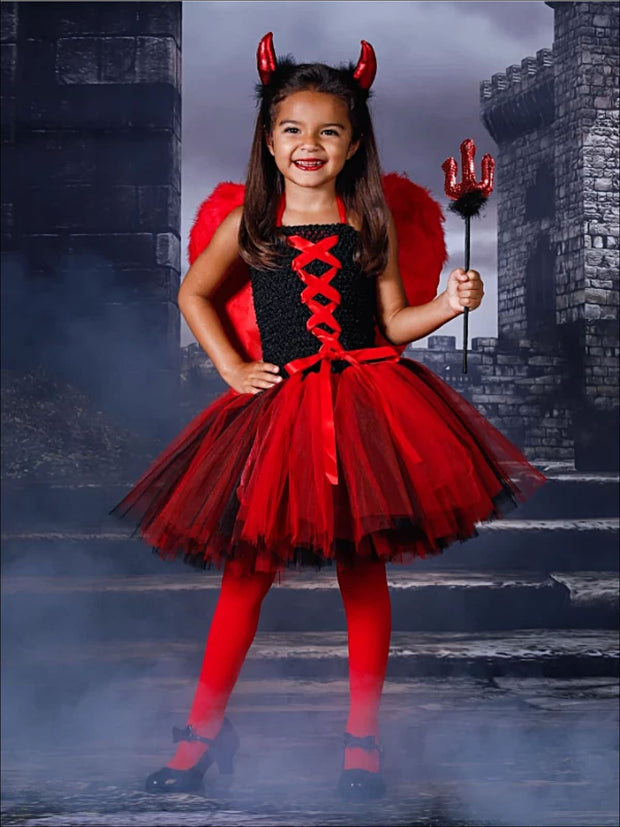Girls Black & Red Tulle Devil Halloween Costume Dress - red / 2T - Girls Halloween Costume