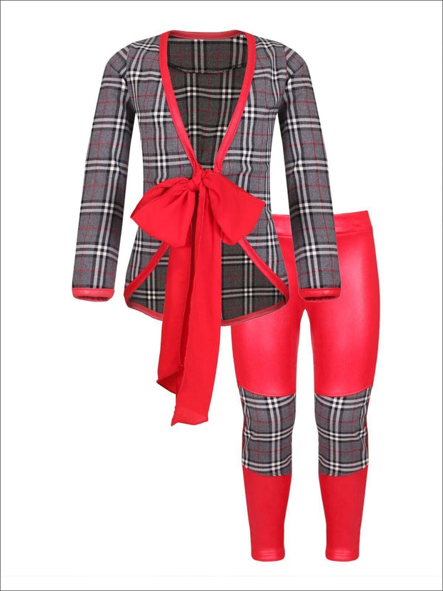 Girls Black & Red Tuxedo Jacket with Patch Pencil Pants - Girls Fall Dressy Set