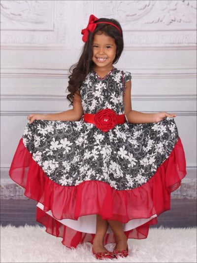 Girls Black & Red V-Neck Hi-Lo Dress - Girls Fall Dressy Dress