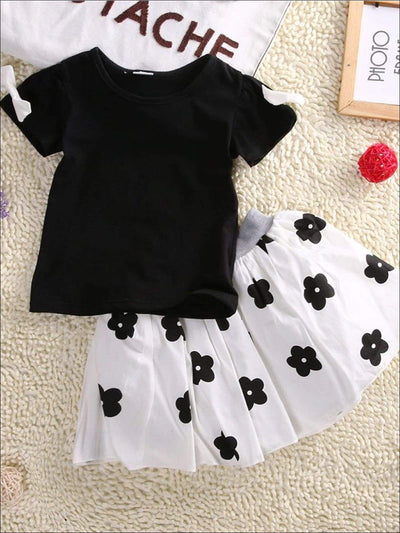 Girls Black Short Sleeve Blouse With White Bow Applique & White Skirt With Black Floral Print - Black & White / 2T - Girls Spring Casual Set