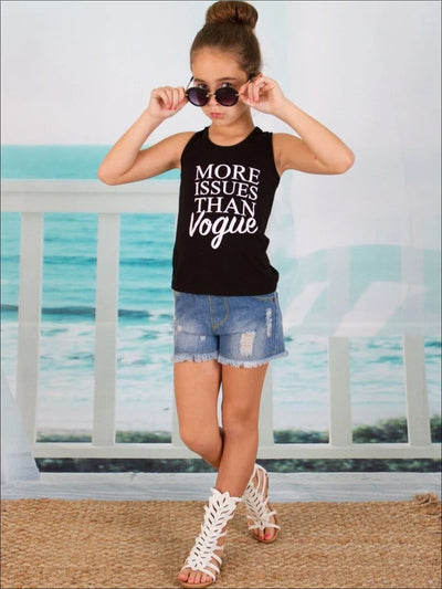 Girls Black Sleeveless More Issues than Vogue Tank - Girls Spring Top