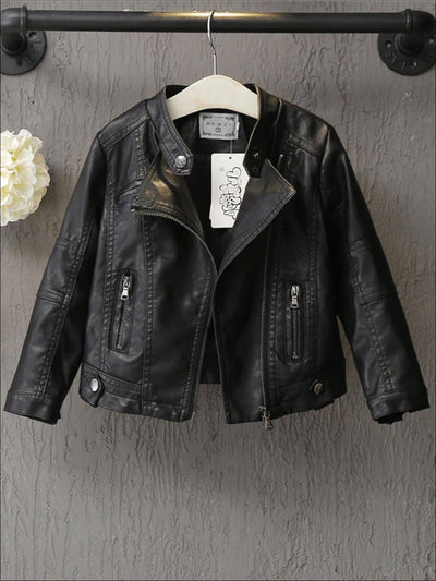 Girls Black Synthetic Leather Moto Jacket - Black / 3T - Girls Jacket