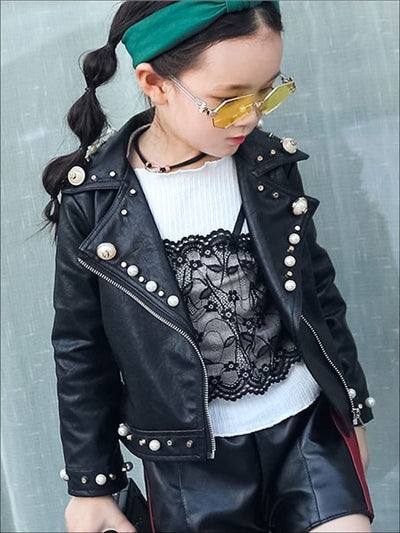 Girls Black Synthetic Leather Pearl Studded Jacket - Girls Jacket