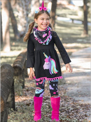 Girls Black Unicorn Themed Tunic Leggings & Pom Pom Scarf Set - Girls Fall Casual Set