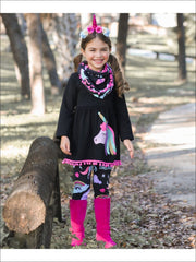 Girls Black Unicorn Themed Tunic Leggings & Pom Pom Scarf Set - S-3T / Black - Girls Fall Casual Set