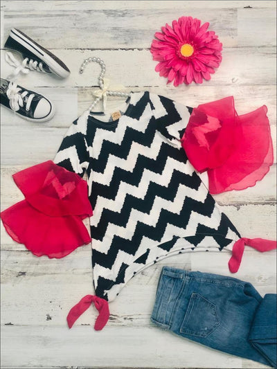 Girls Black & White Chevron Print Fuchsia Ruffled Flared Sleeve Sidetail Tunic - Girls Fall Top