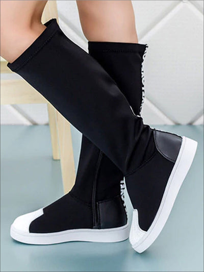 Girls Black & White Elastic Knee-High Boots - Black / 1 - Girls Boots