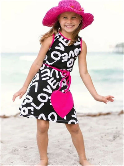 Girls Black White & Fuchsia A-Line Dress - Girls Spring Casual Dress