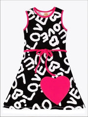 Girls Black White & Fuchsia A-Line Dress - Black/White/Fuchsia / 2T/3T - Girls Spring Casual Dress