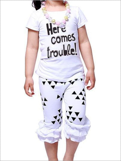 Girls Black & White Here Comes Trouble T-Shirt & Ruffled Geomtric Print Capri Leggings Set - Black/White / 2T - Fall Low Stock