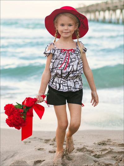 Girls Black & White Off Shoulder Printed Top & Shorts Set - Girls Spring Casual Set