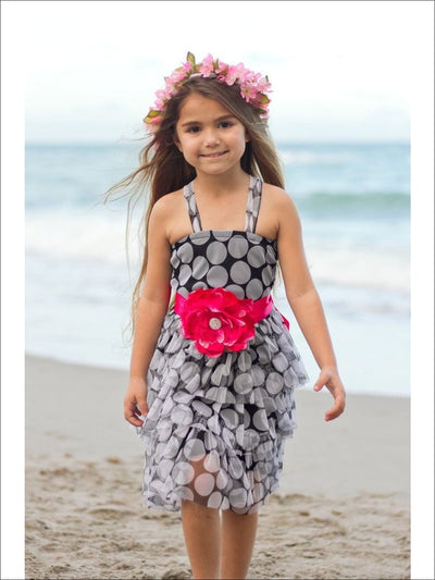 Girls Black & White Polka Dot Dress - Girls Spring Dressy Dress