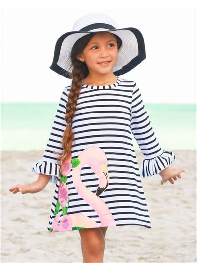 Girls Black & White Striped Flared Ruffled Long Sleeve Flamingo Floral Dress - Girls Spring Casual Dress