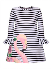 Girls Black & White Striped Flared Ruffled Long Sleeve Flamingo Floral Dress - S-3T / Black & White - Girls Spring Casual Dress