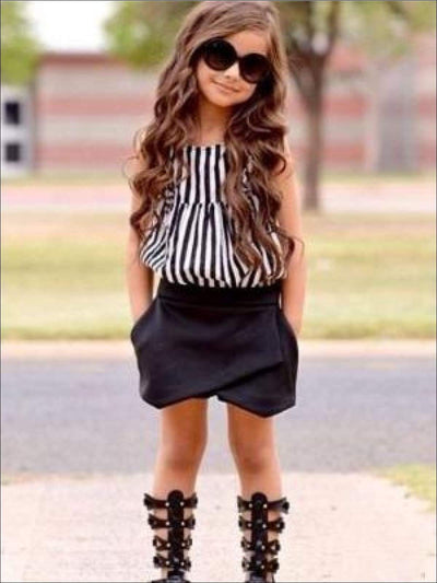 Girls Black & White Striped Sleeveless Top & Black Skort Set - Girls Spring Casual Set