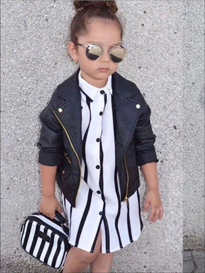 Girls Black & White Vertical Stripe Collared Blouse T-Shirt Dress - Girls Spring Casual Dress