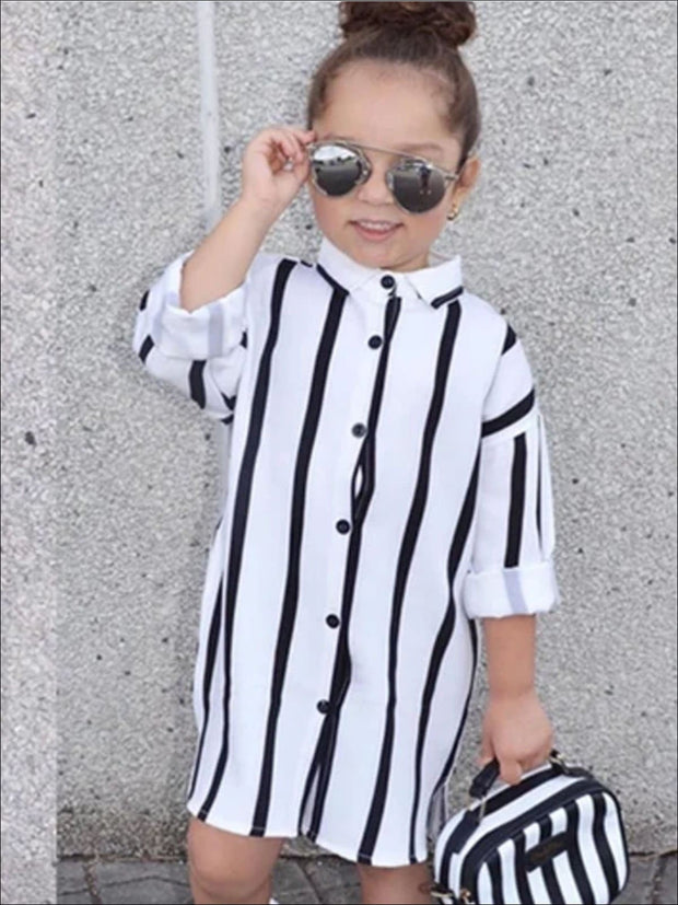 Girls Black & White Vertical Stripe Collared Blouse T-Shirt Dress - White / 2T - Girls Spring Casual Dress