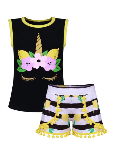 Girls Black & Yellow Lemons & Unicorn Print Sleeveless Top & Matching Striped Pom Pom Shorts Set - Girls Spring Casual Set