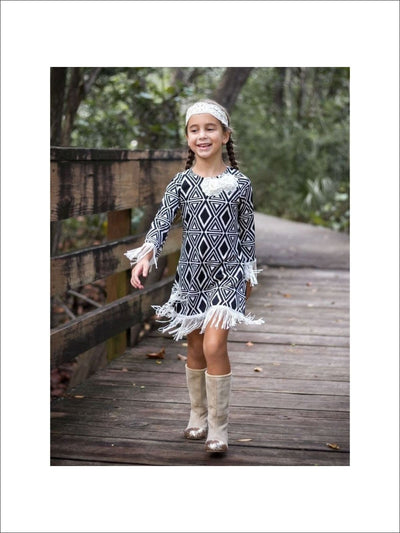 Girls Black/Beige Chevron Boho Dress with Fringe Trim - 3T / Black/Beige - Fall Low Stock