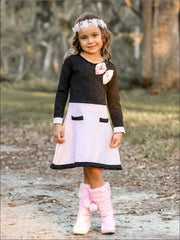 Girls Black/Pink A-Line Dress With Faux Pockets & Animal Print Bow - Fall Low Stock