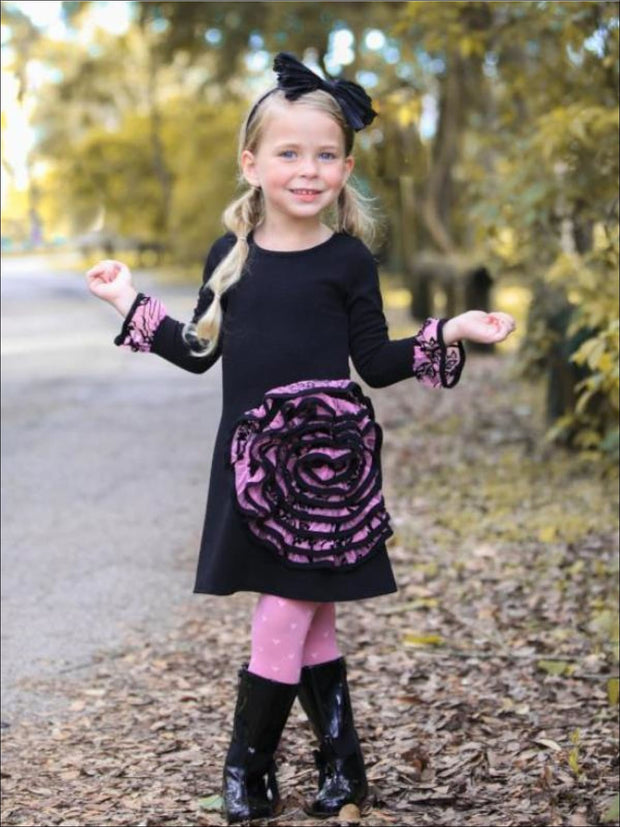 Girls Black/Pink A-Line Dress with Large 3D Rose Applique - Girls Fall Dressy Dress