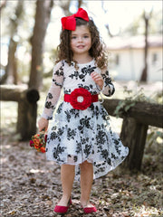 Girls Black/White Long Sleeve Lace Audrey Twirl Dress with Red Flower Sash - Fall Low Stock