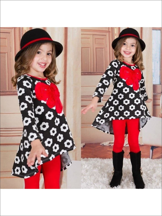 Girls Black/White/Red Hi- Lo Daisy Print Tunic and Leggings - Black/White/Red / 3T - Fall Low Stock