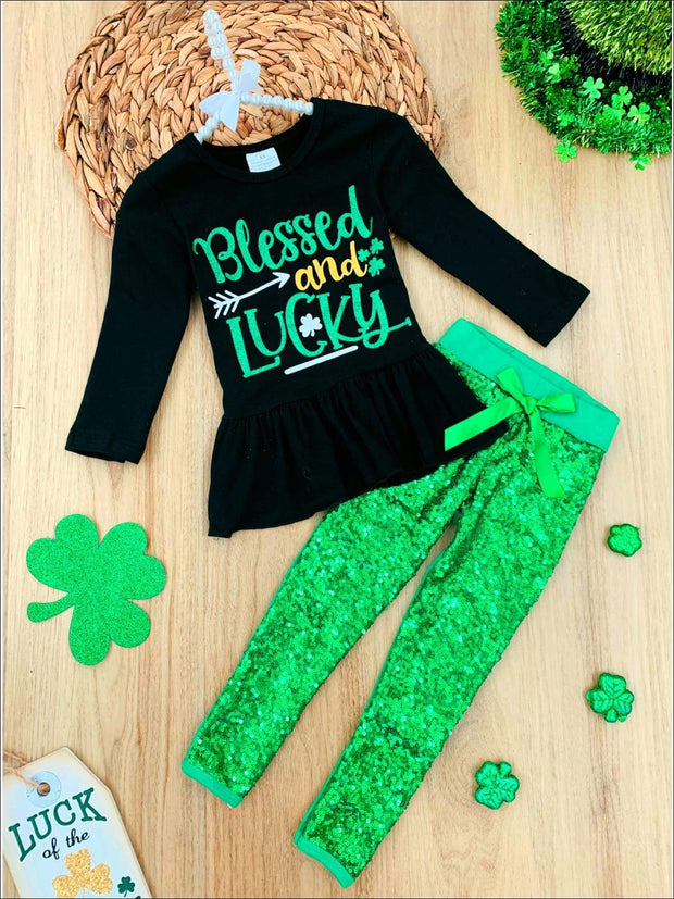 Girls Blessed and Lucky Peplum Tunic and Sequin Leggings Set - Green / 2T - Girls St. Patricks Set