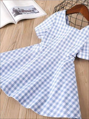 Girls Blue and White Gingham Print Bow Back Dress - Girls Spring Casual Dress