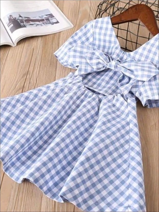 Girls Blue and White Gingham Print Bow Back Dress - blue / 2T - Girls Spring Casual Dress