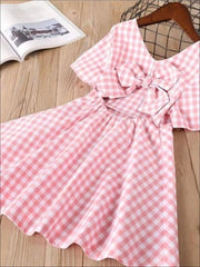 Girls Blue and White Gingham Print Bow Back Dress - pink / 2T - Girls Spring Casual Dress