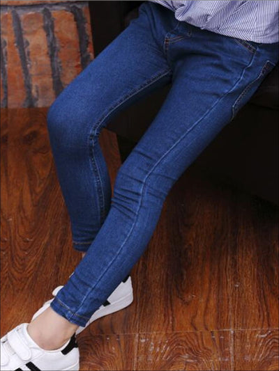 Girls Blue Denim Casual Skinny Jeans - Blue / 3T - Girls Jeans